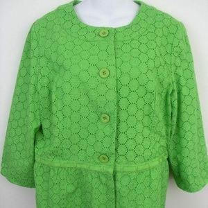 Chadwicks Green Eyelet Jacket Blazer Size 12